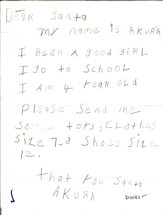 real letters to santa claus from kids  u2013 images  photos