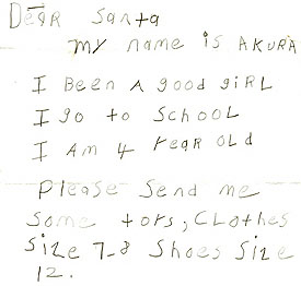 Letter from little girl, 4, asking Santa for clothes and shoes