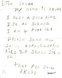 Help adopt needy children s sad letters to Santa They ll smile